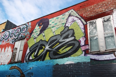 general view of a portion of alley between St-Laurent and Clark; Earth Crusher graffiti at the top