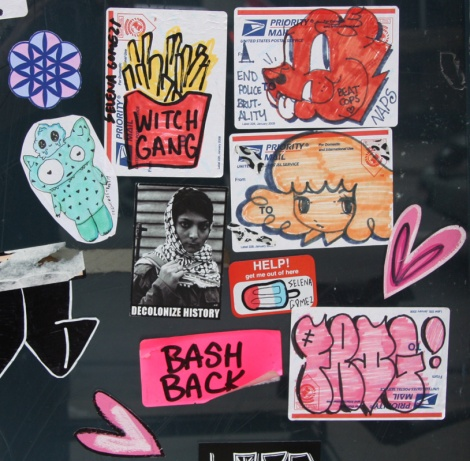 Stela (orange starchild), Selena Gomez representing the Witch Gang, Naps (top right), Swarm (top left) and other friends plus socially minded collective Decolonize Street Art