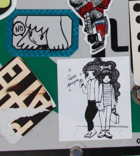 Stela stickers for herself (top) and for Queer Sprayers (bottom)