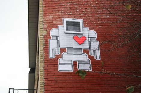 Lovebot wheatpaste on Clark