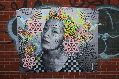 Lily Luciole and Swarm collaboration wheatpaste for Off Murales