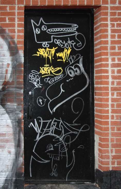 Door featuring Cryote (top), Snail from WC (middle) and someone from the Wzrds Gng (bottom)