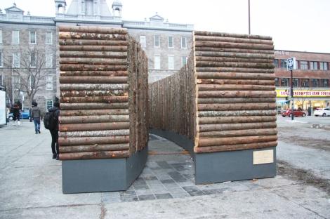 'Dans les bois' installation by Stéphanie Leduc and Manuel Baumann, métro Mont-Royal