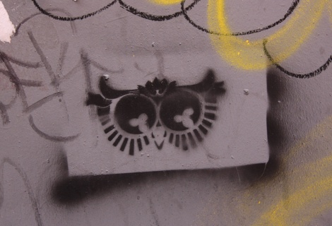 Stencilled owl eyes, artist unknown