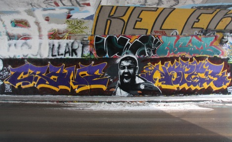 Crane (left letters), Rouks (character), Noper (right letters), Serum (top middle), (top right) and Kelen (very top) at the Rouen legal graffiti wall