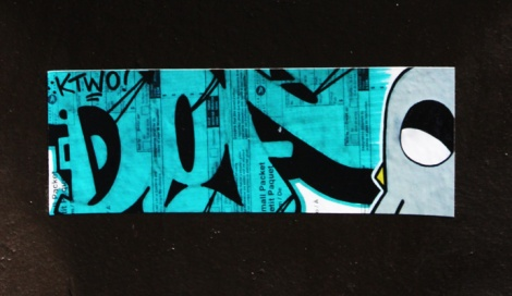 collaboration sticker with Def (letters) and ROC514 (bird)