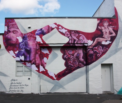 Fonki (left) and Ms Teri (right) collaboration for A'Shop's Hip Hop You Don't Stop project on the walls of a NDG garage