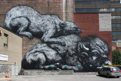 mural by Roa for the 2013 edition of Mural Festival