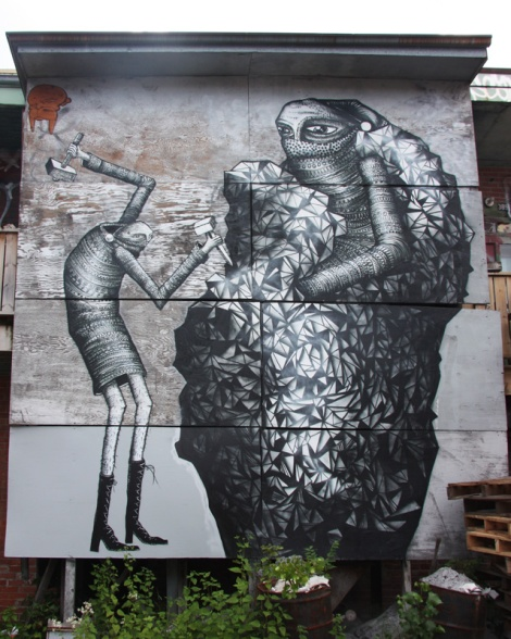 mural piece by Phlegm for the 2013 edition of Mural Festival