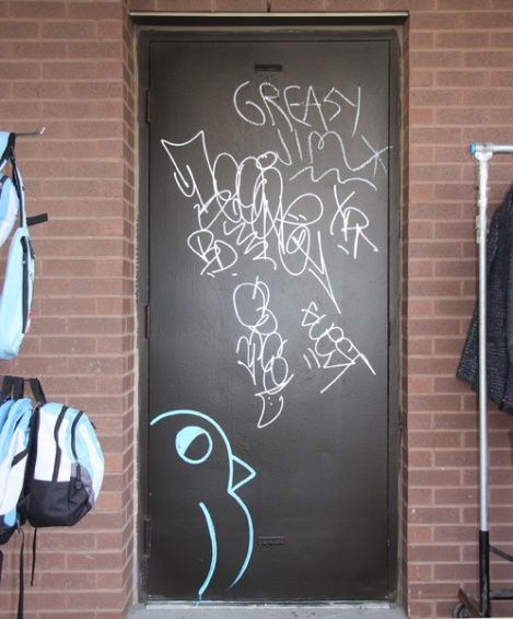 drawn ROC514 piece on Plateau door and many tags
