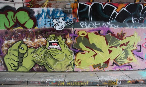 Elfu (left) and EK7 (right) on Rouen tunnel legal graffiti wall