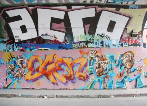 Ogen (bottom letters), Max (bottom characters) and Acro (top) on Rouen tunnel legal graffiti wall