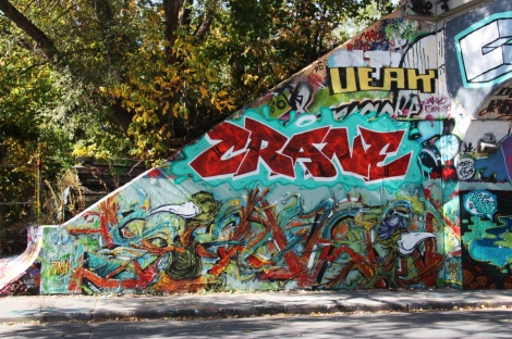 Max (bottom), Crane (middle) and Veak (top) at the Rouen tunnel legal graffiti wall
