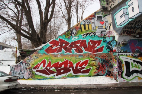 Crane (bottom and middle) and a Lovebot wheatpaste (top) at the Rouen tunnel legal graffiti wall