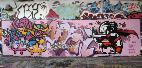 Horno (bottom left) and Ankh? (bottom right) at the Rouen tunnel legal graffiti wall