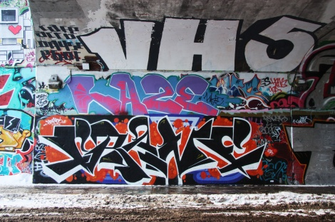 Crane (bottom), Haze (middle), someone from VHS (top) at the Rouen tunnel legal graffiti wall