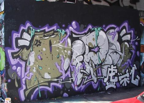 Debza at the Rouen tunnel legal graffiti wall
