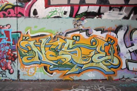 Nese at the Rouen tunnel legal graffiti wall