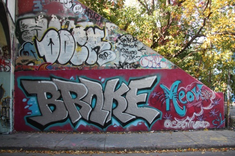 Brake (bottom) and a tribute to Dock (top) at the Rouen tunnel legal graffiti wall