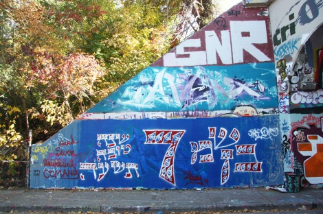 Zrey Li (bottom), Apashe (middle), Saner (top) at the Rouen tunnel legal graffiti wall