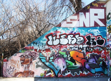 Maliciouz (bottom left), Volpe (bottom right), Hers (middle) and Saner (top) at the Rouen tunnel legal graffiti wall