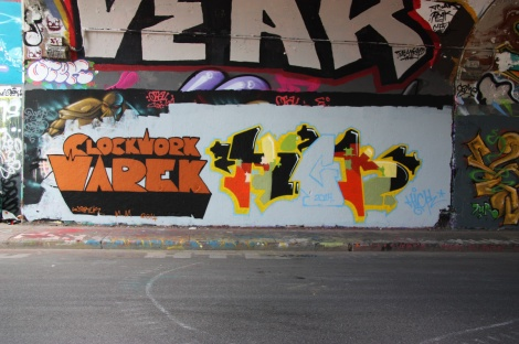 Warez at the Rouen tunnel legal graffiti wall