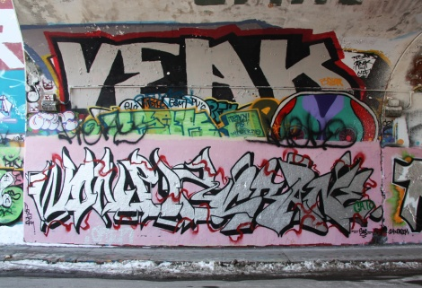 Wonez (bottom left), Crane (bottom right), Veak (top) at the Rouen tunnel legal graffiti wall