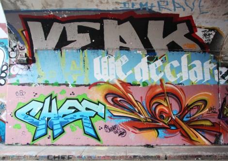 Veak (top), Chef (bottom left), Skope (bototm right) on Rouen tunnel legal graffiti wall