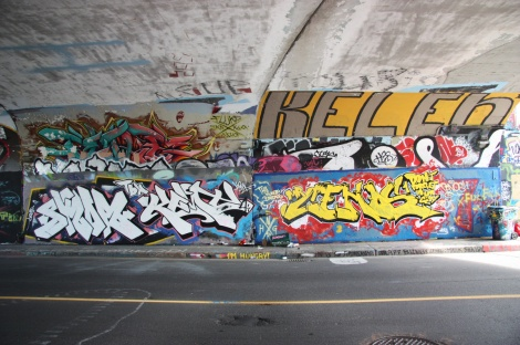 Skor and Kemt (bottom left), Cenos (bottom right), Fluke (top left), Kelen (top right) at the Rouen tunnel legal graffiti wall