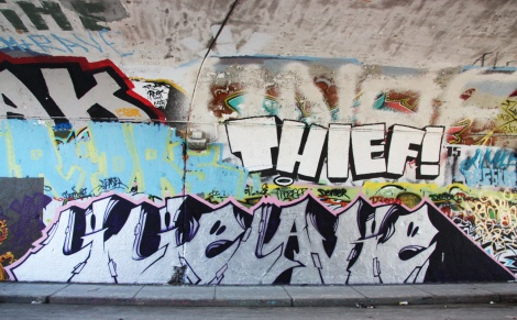 Lilie Lavie (bottom) and Thief! (top right) at the Rouen tunnel legal graffiti wall