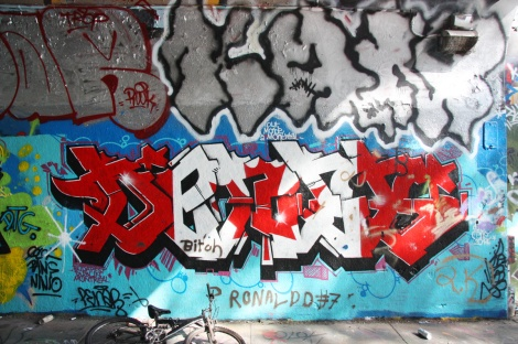 Denos? at the Rouen tunnel legal graffiti wall