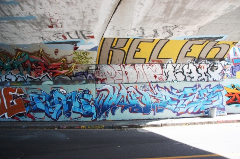 Crane (bottom left), Wonez (bottom centre), unidentified (bottom right), Penar (middle), Kelen (middle right and top) at the Rouen tunnel legal graffiti wall