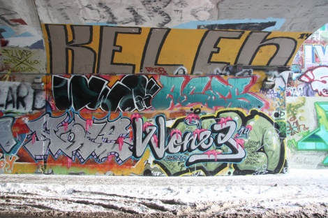 Noper (bottom left), Wonez (bottom right), Serum (middle left), Aces (middle right), Kelen (top) at the Rouen tunnel legal graffiti wall