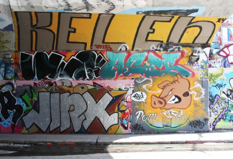 Jinx (bottom left), Elfu (bottom right), Serum (middle left), Aces (middle right) and Kelen (top) at the Rouen tunnel legal graffiti wall