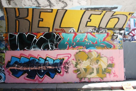 Serum (bottom left and middle left), EK7 (bottom right), Aces (middle right) and Kelen (top) at the Rouen tunnel legal graffiti wall