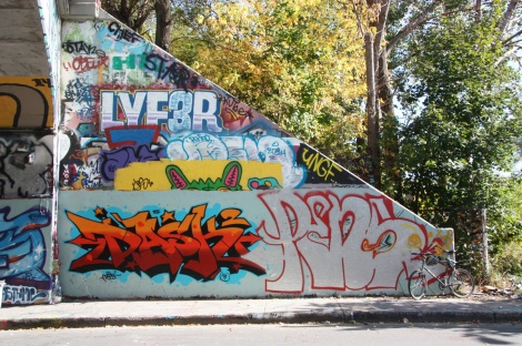 Dask (bottom left), Penar (bottom right), Lyfer (top) at the Rouen tunnel legal graffiti wall