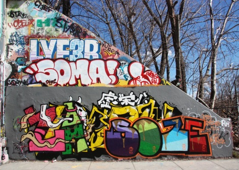 Zaz and Soze (bottom), Soma (middle) and Lyfer (middle) at the Rouen tunnel legal graffiti wall