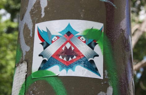 sticker by unidentified artist at the Rouen tunnel legal graffiti wall