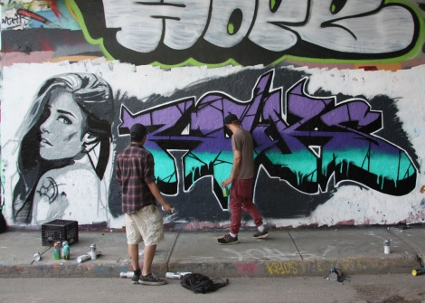 work-in-progress by Rouks at the Rouen legal graffiti wall