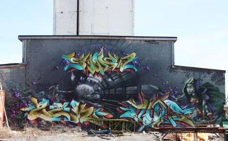 Graffiti mural featuring Shadow, Zek, Fluke and Ankh One, near de Rouen legal walls