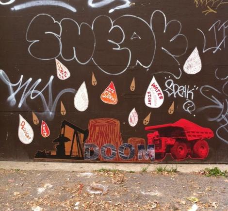 Swarm wheatpaste in alley behind St-Hubert; photo © Swarm