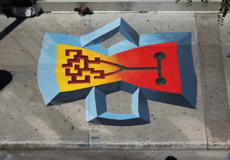 Sidewalk art by Mathieu Connery for the 2013 edition of Mural Festival