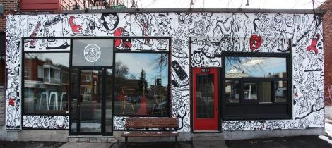 Nixon on café storefront on de Lorimier