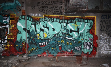 Nixon piece inside an abandoned building