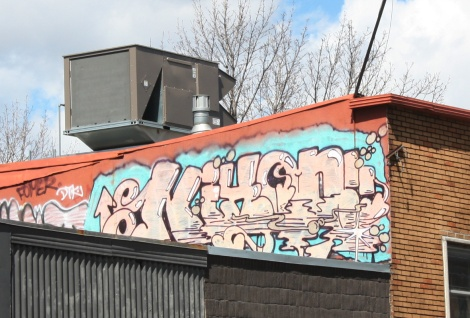 Nixon graffiti on a Plateau rooftop