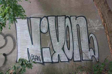 Nixon graffiti near the corner of William and Murray