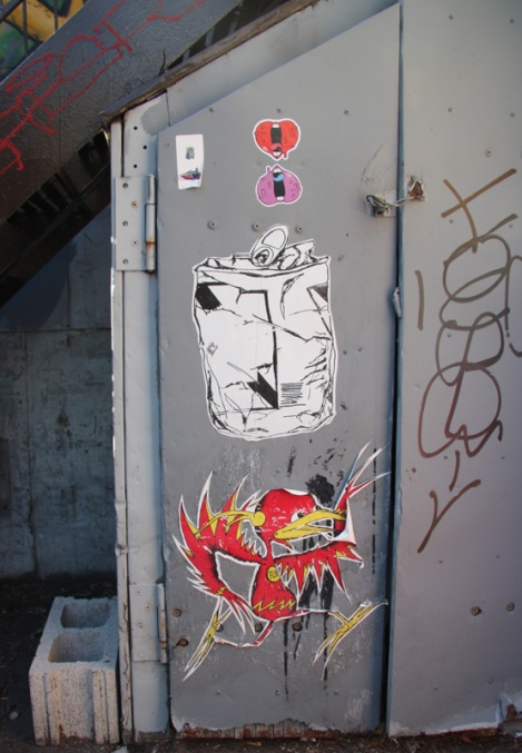 Tava (top), unknown artist (centre) and Futur Lasor Now wheatpaste (bottom) in alley between St-Laurent and Clark
