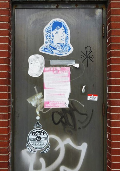 Zola (top) and Red Bandit (beneath) wheatpastes, Meat paste-up (bottom)