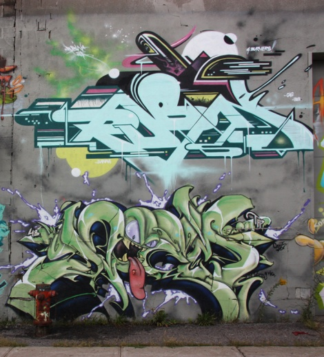 Rubin (top) and Deem One (bottom) on Cabot graffiti wall