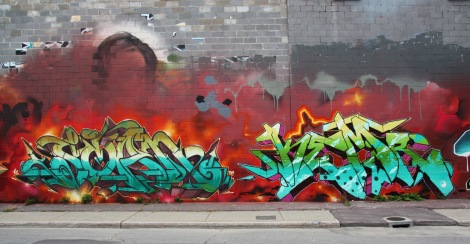 Scaner (left) and Kemr (right) on Cabot graffiti wall